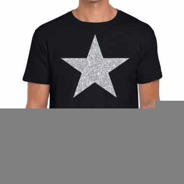Glitte ster -shirt zwart met zilveren bedrukking voor heren