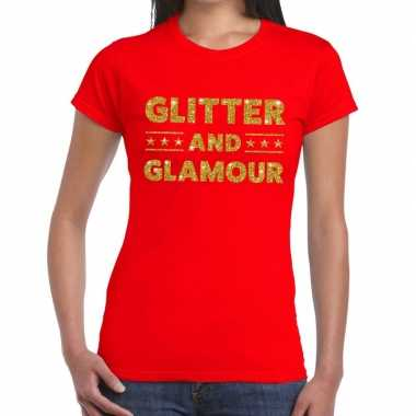 Glitter and glamour fun t-shirt rood voor dames