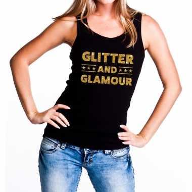 Glitter and glamour fun tanktop / mouwloos shirt zwart voor dames