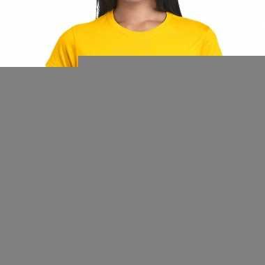 Glitter and glamour zilver fun t-shirt geel voor dames