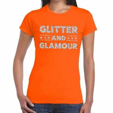 Glitter and glamour zilver fun t-shirt oranje voor dames