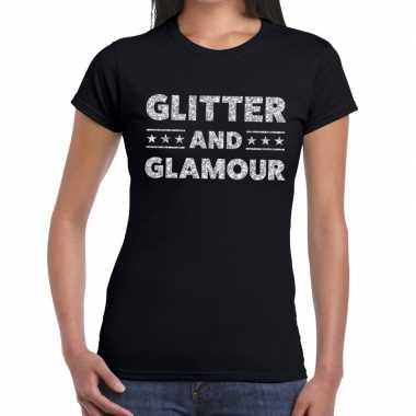 Glitter and glamour zilver fun t-shirt zwart voor dames