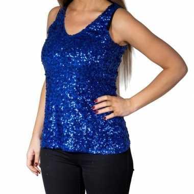 Glitter pailletten stretch hemdje/ topje blauw dames
