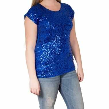 Glitter pailletten stretch shirt blauw dames l/ xl