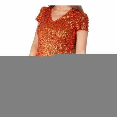 Glitter pailletten stretch shirt oranje dames