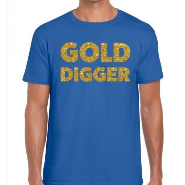 Gold digger fun t-shirt blauw voor heren
