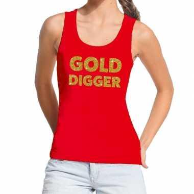 Gold digger fun tanktop / mouwloos shirt rood voor dames