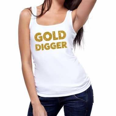 Gold digger fun tanktop / mouwloos shirt wit voor dames
