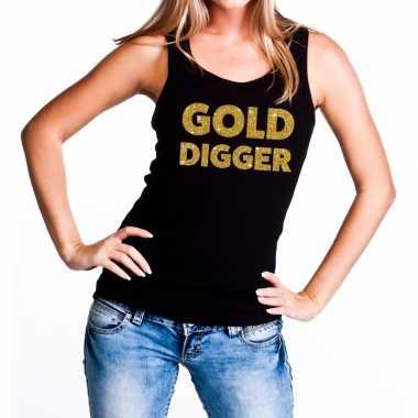 Gold digger fun tanktop / mouwloos shirt zwart voor dames
