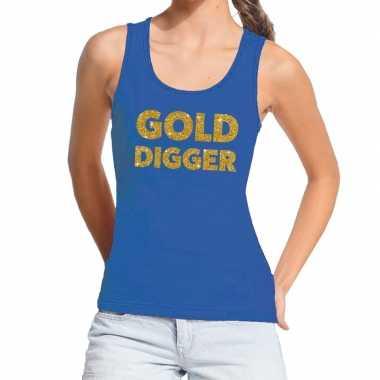 Gold digger gouden tekst fun tanktop blauw voor dames