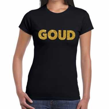 Goud fun t-shirt zwart voor dames