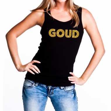 Goud fun tanktop / mouwloos shirt zwart voor dames