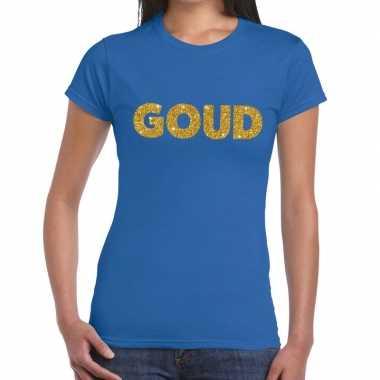 Goud tekst fun t-shirt blauw voor dames