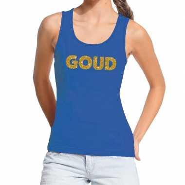 Goud tekst fun tanktop blauw voor dames