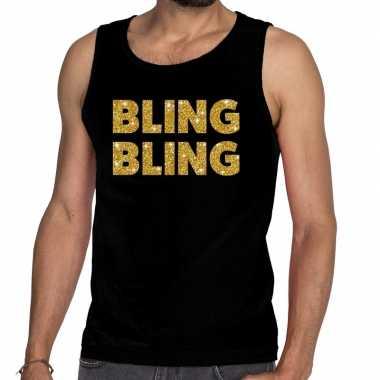 Gouden bling bling fun tanktop / mouwloos shirt zwart voor heren