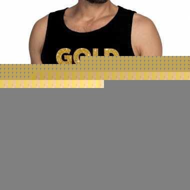 Gouden gold digger fun tanktop / mouwloos shirt zwart voor heren