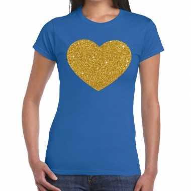 Gouden hart fun t-shirt blauw voor dames