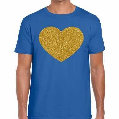 Gouden hart fun t-shirt blauw voor heren