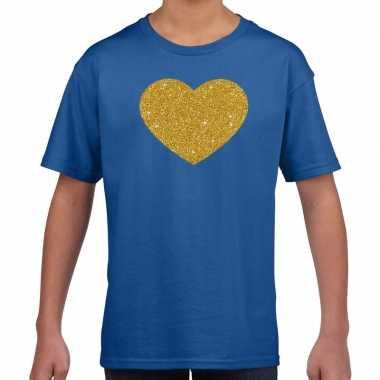 Gouden hart fun t-shirt blauw voor kids