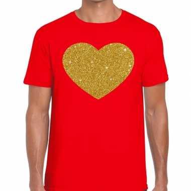 Gouden hart fun t-shirt rood voor heren