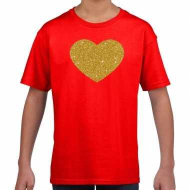 Gouden hart fun t-shirt rood voor kids
