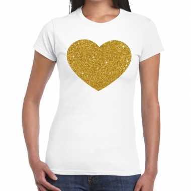 Gouden hart fun t-shirt wit voor dames