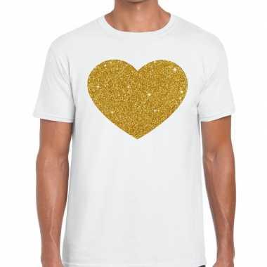 Gouden hart fun t-shirt wit voor heren
