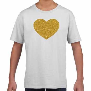 Gouden hart fun t-shirt wit voor kids