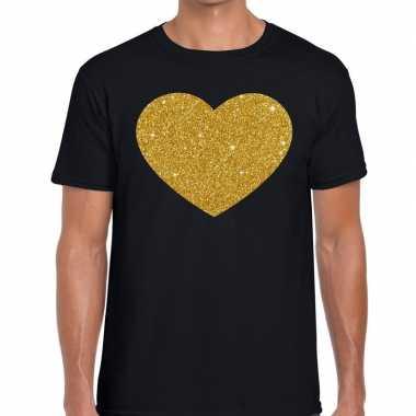Gouden hart fun t-shirt zwart voor heren
