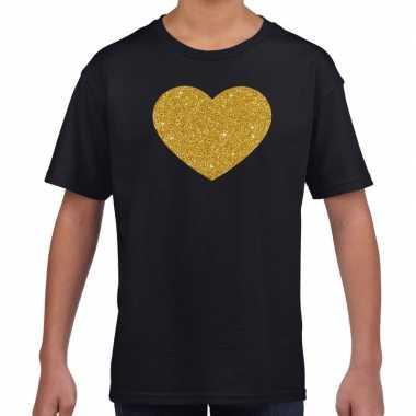 Gouden hart fun t-shirt zwart voor kids