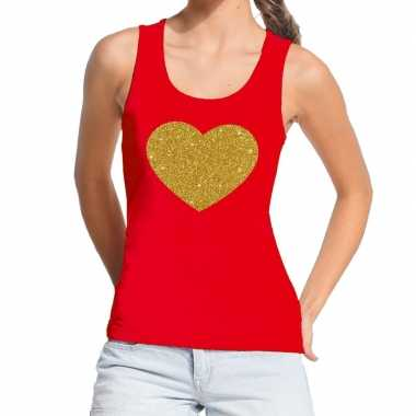 Gouden hart fun tanktop / mouwloos shirt rood voor dames
