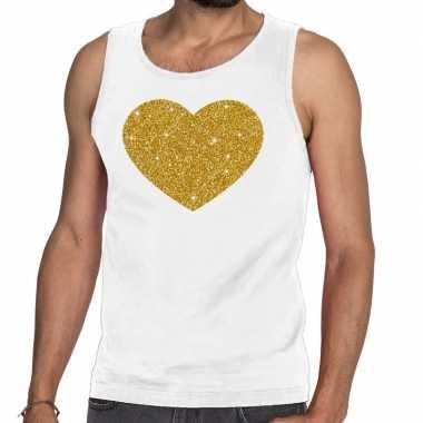 Gouden hart fun tanktop / mouwloos shirt wit voor heren