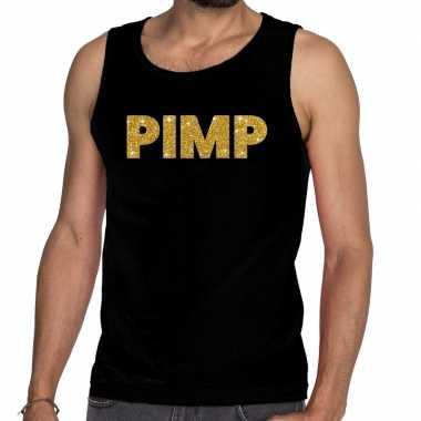 Gouden pimp fun tanktop / mouwloos shirt zwart voor heren