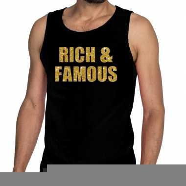 Gouden rich & famous fun tanktop / mouwloos shirt zwart voor here