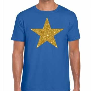 Gouden ster fun t-shirt blauw voor heren