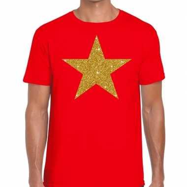 Gouden ster fun t-shirt rood voor heren