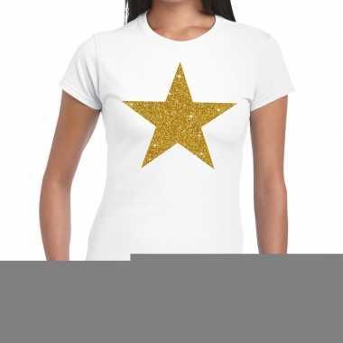 Gouden ster fun t-shirt wit voor dames