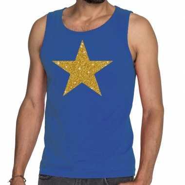 Gouden ster fun tanktop / mouwloos shirt blauw voor heren