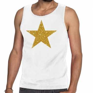 Gouden ster fun tanktop / mouwloos shirt wit voor heren