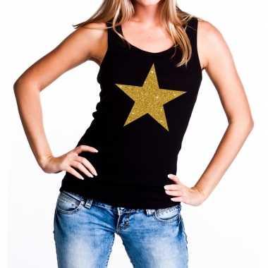 Gouden ster fun tanktop / mouwloos shirt zwart voor dames