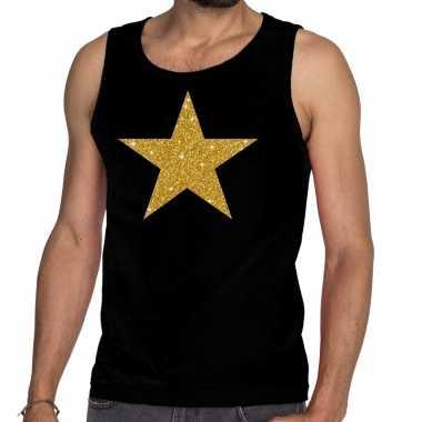 Gouden ster fun tanktop / mouwloos shirt zwart voor heren