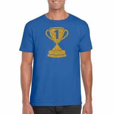 Gouden winnaars beker / nr.1 t-shirt blauw voor heren