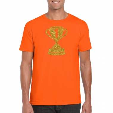 Gouden winnaars beker nr.1 t-shirt oranje voor heren
