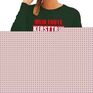 Grappige tekst kersttrui in de was voor dames
