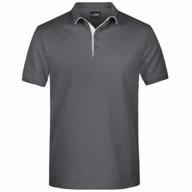 Grijze premium poloshirt golf pro voor heren