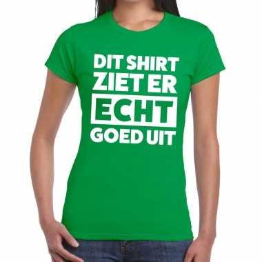 Groen feest t-shirt dit shirt ziet er echt goed uit groen voor dames