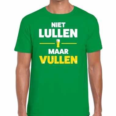 Groen niet lullen maar vullen fun t-shirt voor heren