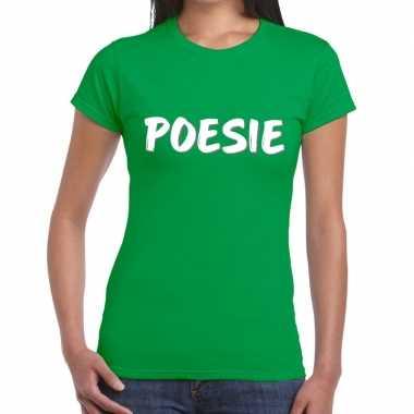 Groen poesie shirt voor dames