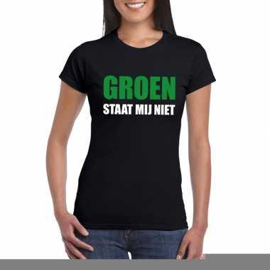 Groen staat mij niet fun t-shirt voor dames zwart