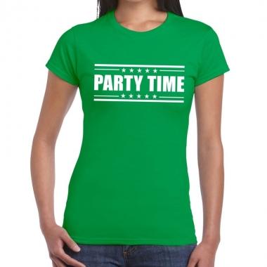 Groen t-shirt dames met tekst party chick